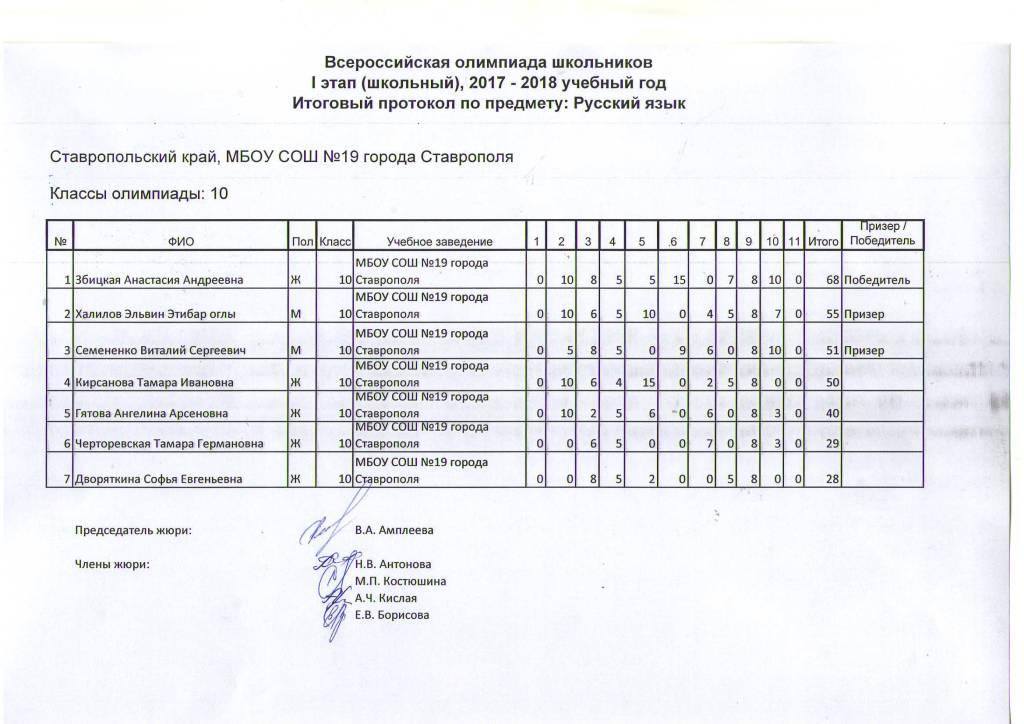 олимпиады русский городской тур
